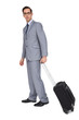 Businessman with glasses holding a trolley