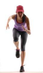 Mujer atlética en forma.Mujer corriendo,trotando.