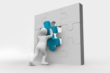 Human representation resolving a jigsaw puzzle