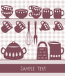 Illustration of kitchen utensils and cutlery