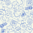 Illustration of mail doodles on squared school paper