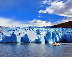 Yacht for tourists near the Glacier Grey