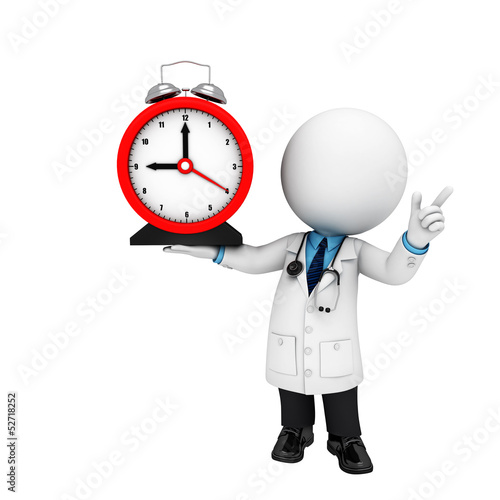 3d white people as doctor with clock