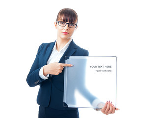 Business woman showing space for text