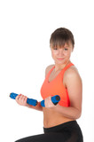Fitness woman exercising with dumpbells poster