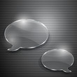 Two speech bubbles from glass on gray striped background