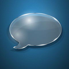 Speech bubble from glass on blue striped background