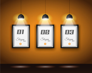 Original Infographics - Interior art gallery with 3 solutions