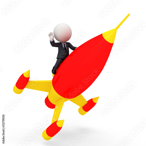 3d white people as business man with rocket