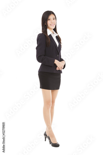 full length  business woman standing with isolated on white back