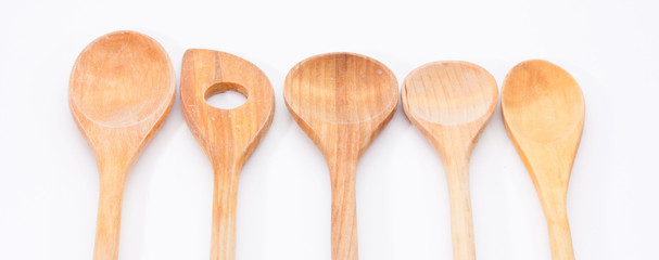 Isolated Wooden Kitchen Utensils