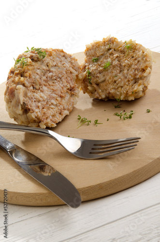 cooked meatball with long grain rice