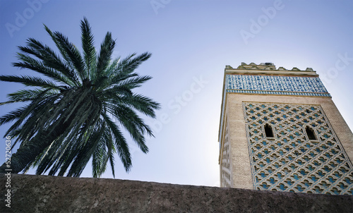 Minaret and palm tree with clear blue sky
