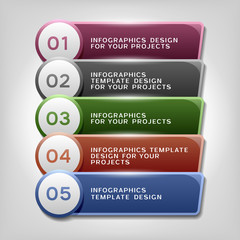 Infographics design with numbered steps. Eps10 vector