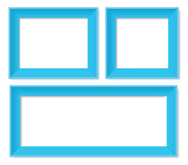 Set of blue photo frames