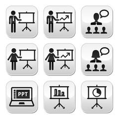 Business presentation, lecture, speech vector buttons