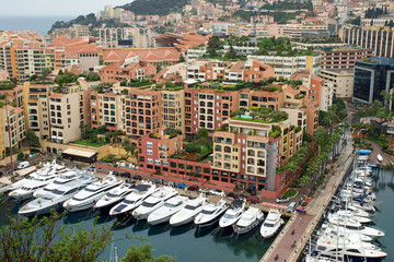 View of the Fontvielle harbour and marina of Monte Carlo, Monaco