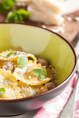 Cute meat ravioli dish ready to eat