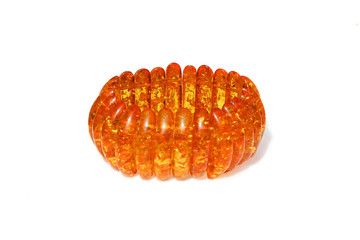 Amber bracelet isolated on white