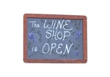 isolated wine shop open sign