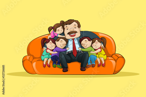 vector illustration of father with kid sitting in sofa