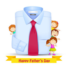 vector illustration of Father's Day Background with kids