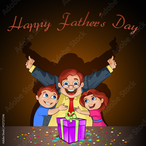vector illustration of father with kids in Father's Day