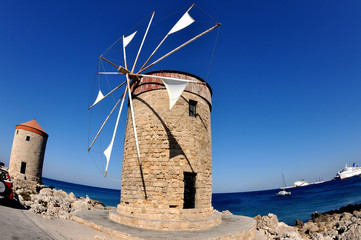 Stone windmill on the island of Rhodes
