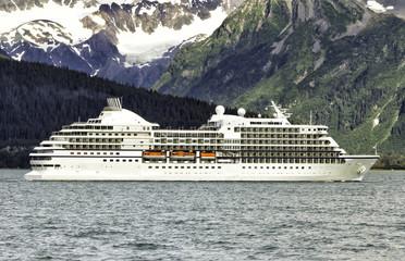 Cruise ship leaving Seward in Alaska