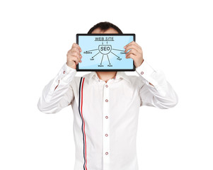 tablet with seo scheme