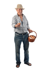 a farmer man holds eggs