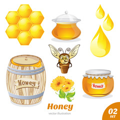 Set of honey, honeycomb, bee, a barrel of honey