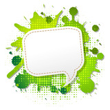 Green Grunge Poster With Abstract Speech Bubbles