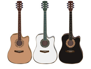 three acoustic guitars on a white background. Vector