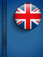UK Flag Button in Jeans Pocket