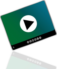 Media player set with play button on abstract background