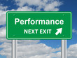 """PERFORMANCE NEXT EXIT"" Signpost (business excellence success)"