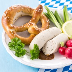 Munich white sausages with sweet mustard and pretzel