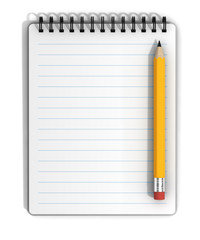 Blank Lined Notepad and Pencil