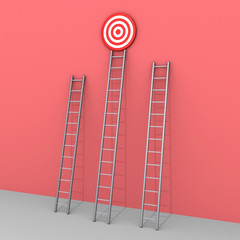 Three ladders but only one leads to success