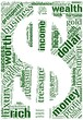 Word cloud in a shape of dollar with money terms