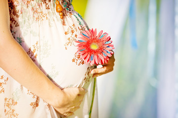 Pregnant woman holding her belly and flower