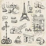 Paris Illustration Set - for design and scrapbook - in vector - 52736053