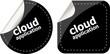 cloud application black stickers label tag set