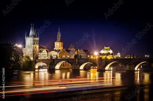 Night shot of Charles Bridge and river in Prague