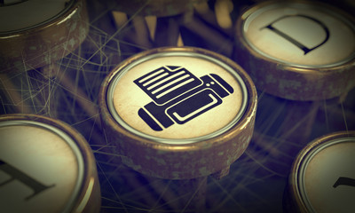Print Typewriter Key. Grunge Background.