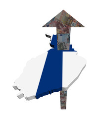 European Euros arrow and Finland map flag illustration
