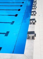 Starting platforms in the outdoor swimming pool
