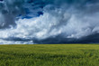 Beautiful rural landscape with stormy weather in summer