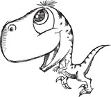 Sketch Doodle Cute Raptor Dinosaur Vector poster